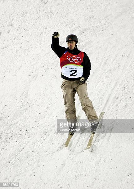 Dmitri Dashinski of Belarus celebrates landing his second jump to win the silver medal in the Mens Freestyle Skiing Aerials Final on Day 13 of the...