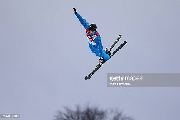Dmitri Dashinski of Belarus competes in the Freestyle Skiing Men's Aerials Qualification on day ten of the 2014 Winter Olympics at Rosa Khutor...