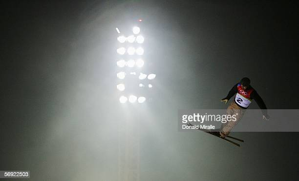 Dmitri Dashinski of Belarus competes in the Mens Freestyle Skiing Aerials Final on Day 13 of the 2006 Turin Winter Olympic Games on February 23 2006...