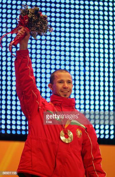 Dmitri Dashinski of Belarus won the silver medal in the men's aerials during the Medals Ceremony on Day 14 of the Turin 2006 Winter Olympic Games on...