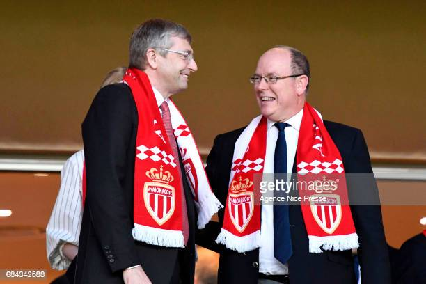 Dmitri Dmitriy Rybolovlev chairman of Monaco and Prince Albert of Monaco during the Ligue 1 match between As Monaco and AS Saint Etienne at Stade...