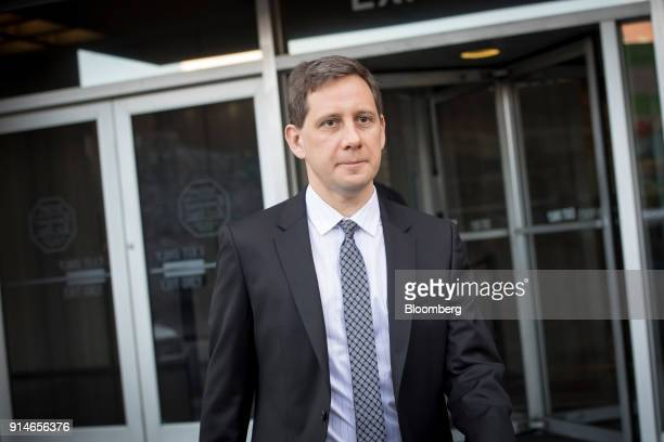 Dmitri Dolgov senior vice president of self driving technology for Waymo Inc exits the Phillip Burton Federal Building and US Courthouse in San...