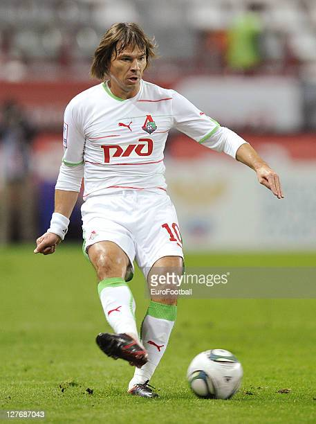 Dmitri Loskov of FC Lokomotiv Moskva in action during the Russian Premier League match between FC Lokomotiv Moskva and FC Rubin Kazan held on...