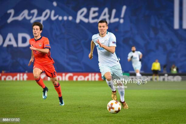 Dmitri Poloz of Zenit duels for the ball with Alvaro Odriozola of Real Sociedad during the UEFA Europa League Group L football match between Real...