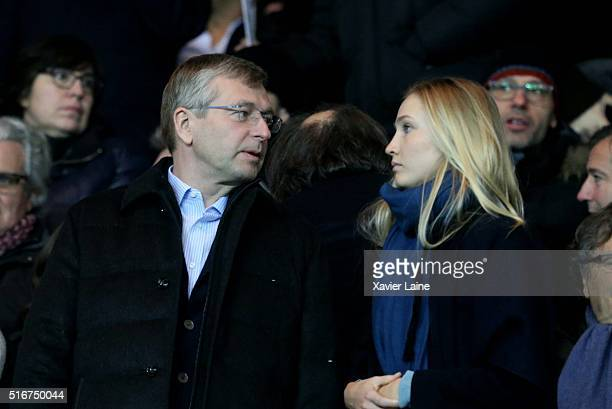 Dmitri Rybolovlev and his daughter Ekaterina Rybolovlev attend the French Ligue 1 match between Paris SaintGermain and AS Monaco at Parc des Princes...