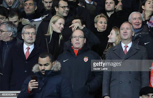 Dmitri Rybolovlev and his wife Prince Albert II of Monaco and Vadim Vasilyev attends the French League 1 match between Paris SaintGermain and AS...