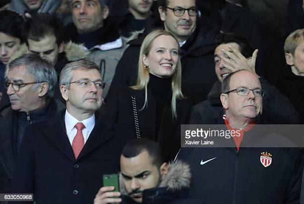 Dmitri Rybolovlev and his wife Prince Albert II of Monaco attends the French League 1 match between Paris SaintGermain and AS Monaco at Parc des...