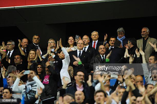 Dmitri Rybolovlev and Prince Albert de Monaco during the football french Ligue 1 match between Olympique Lyonnais and As Monaco at Stade des...
