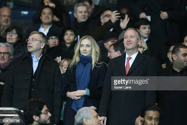 Dmitri Rybolovlev Ekaterina Rybolovlev and Vadim Vasilyev attend the French Ligue 1 match between Paris SaintGermain and AS Monaco at Parc des...