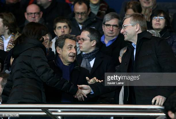Dmitri Rybolovlev Nicolas Sarkozy and Anne Hidalgo attend the French Ligue 1 match between Paris SaintGermain and AS Monaco at Parc des Princes on...