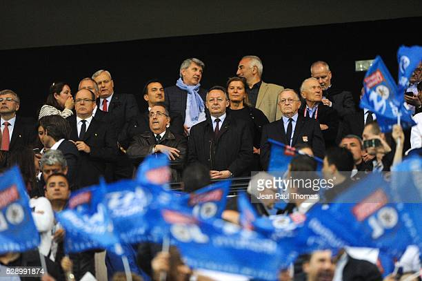 Dmitri Rybolovlev of Monaco Prince Albert de Monaco Thierry Braillard and Jean Michel Aulas president of Lyon during the football french Ligue 1...