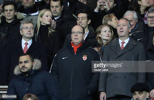 Dmitri Rybolovlev Prince Albert II of Monaco and Vadim Vasilyev attends the French League 1 match between Paris SaintGermain and AS Monaco at Parc...