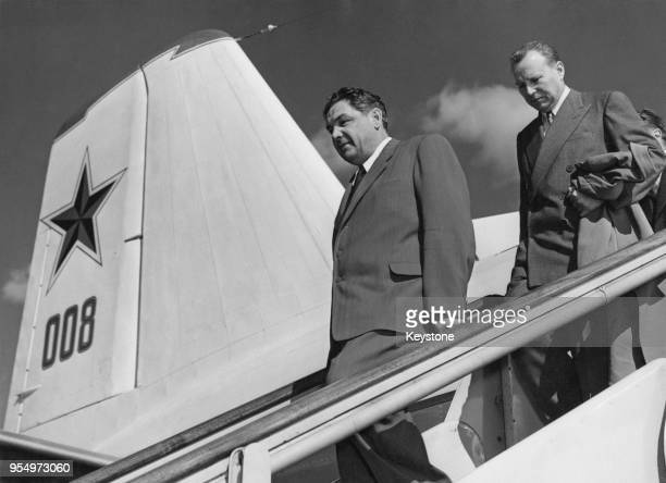 Dmitri Shepilov , the Soviet Foreign Minister, arrives at London Airport in a Russian aircraft, to attend the Suez Conference in London, 14th August...