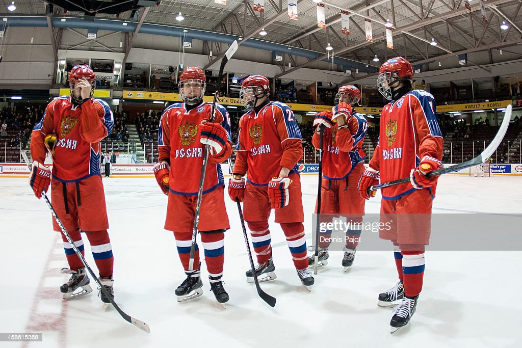 Dmitri Sokolov #27 of Russia prepares for play after a timeout against Finland during semifinals at the World Under-17 Hockey Challenge on November 7, 2014 at the RBC Centre in Sarnia, Ontario.