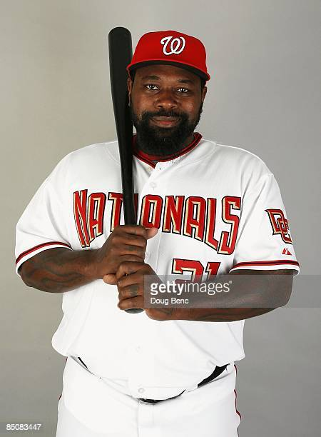 Dmitri Young of the Washington Nationals poses during photo day at Roger Dean Stadium on February 21 2009 in Viera Florida