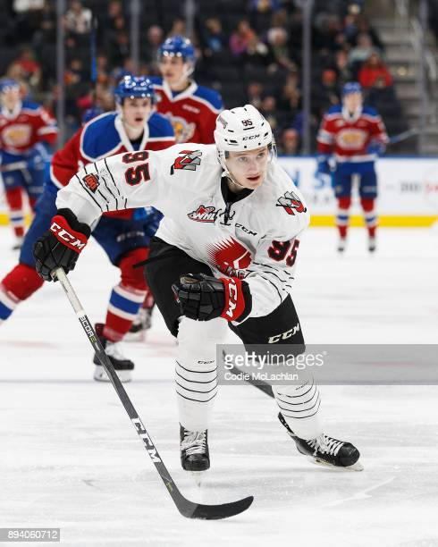 Dmitri Zaitsev of the Moose Jaw Warriors skates against the Edmonton Oil Kings at Rogers Place on December 7 2017 in Edmonton Canada
