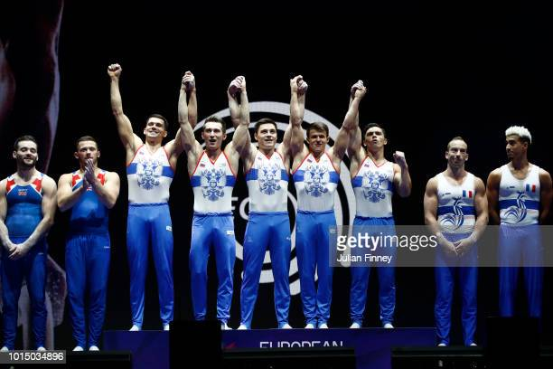 Dmitrii Lankin Nikita Nagornyy Artur Dalaloyan David Belyavskiy and Nikolai Kuksenkov of Russia pose celebrates at the podium with their medals after...