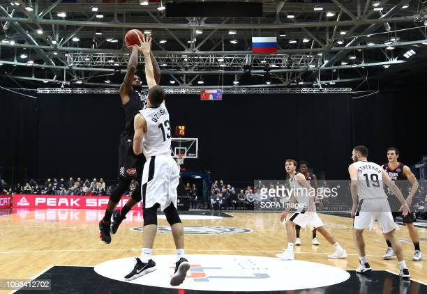 Dmitrii Uzinskii and Camerlon Clark seen in action during the game Basketball Champions League BC Nizhny Novgorod from Russia vs Le Mans from France...