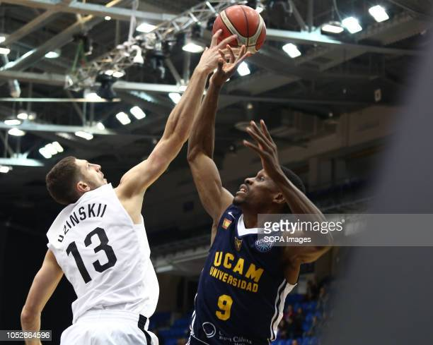 Dmitrii Uzinskii and Charlon Kloof seen in action during the game Basketball Champions League BC Nizhny Novgorod from Russia vs Ucam Murcia Club...