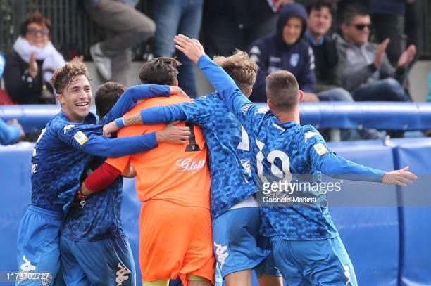 Dmitrij Zelenkovc of Empoli FC U19 celebrates after scoring a goal during the Serie A Primavera match between Empoli U19 and Sampdoria U19 on...
