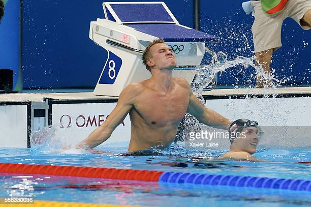 Dmitriy Balandin of Kazakstan celebrates his victory after the final men's 200m breaststroke at Olympic Aquatics Stadium on August 10 2016 in Rio de...