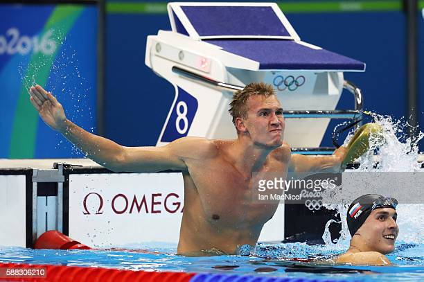 Dmitriy Balandin of Kazakstan celebrates winning the Men's 200m Breaststroke on Day 5 of the Rio 2016 Olympic Games at the Olympic Aquatics Stadium...