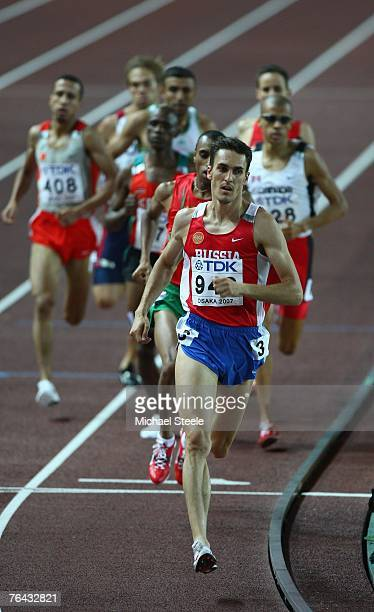 Dmitriy Bogdanov of Russia leads the field during the Men's 800m semi final on day seven of the 11th IAAF World Athletics Championships on August 31...