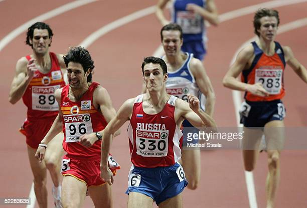 Dmitriy Bogdanov of Russia wins the 800m final during the third day of the European Indoor Athletics Championships 2005 at Comunidad de Madrid Indoor...