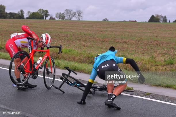 Dmitriy Gruzdev of Kazahkstan and Astana Pro Team / Emmanuel Morin of France and Team Cofidis Solutions Credits / Peloton / Crash / Injury / during...