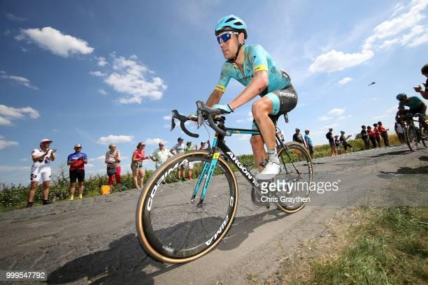 Dmitriy Gruzdev of Kazakhstan and Astana Pro Team /Willems À Hem Cobbles Sector 1 / Pave / Fans / Public / during the 105th Tour de France 2018 Stage...