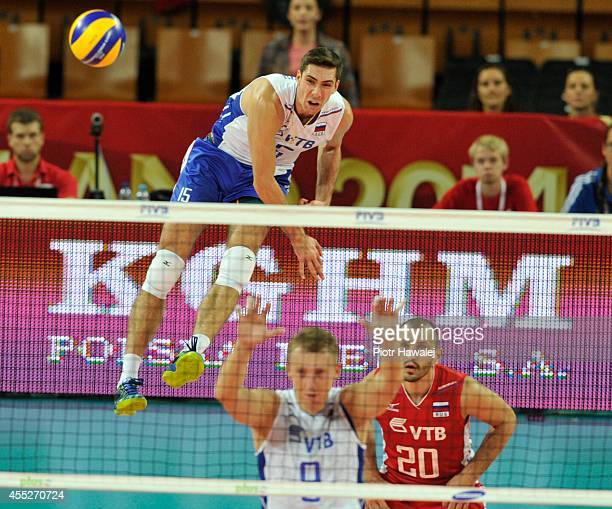Dmitriy Ilinykh of Russia serves the ball during the FIVB World Championships match between Cuba and Russia on September 11 2014 in Wroclaw Poland