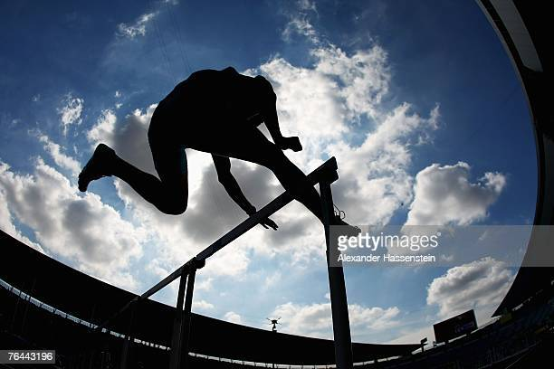 Dmitriy Karpov of Kazakhstan practices before the start of his heat in the 110m Hurdles Round during the Men's Decathlon on day eight of the 11th...