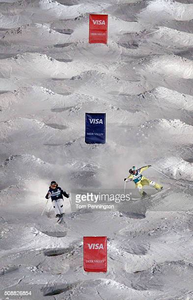 Dmitriy Reiherd of Kazakhstan competes against Jimi Salonen of finland in the men's FIS Freestyle Skiing Dual Moguls World Cup at Deer Valley Resort...