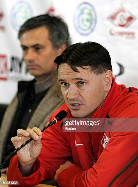 Dmitry Alenichev of Russia and Jose Mourinho attend a press conference held prior to Dmitry Alenichev's farewell game between FC Spartak Moscow and a...