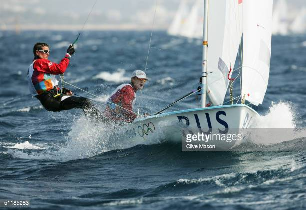 Dmitry Berezkin and Mikhail Krutikov of Russia sail in the men's double handed dinghy 470 race on August 15 2004 during the Athens 2004 Summer...