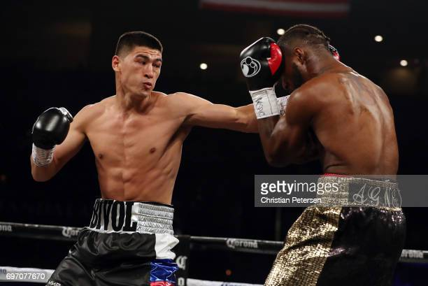 Dmitry Bivol connects with a left against Cedric Agnew during their light heavyweight bout at the Mandalay Bay Events Center on June 17 2017 in Las...