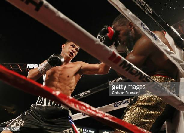 Dmitry Bivol connects with a left in the corner against Cedric Agnew during their light heavyweight bout at the Mandalay Bay Events Center on June 17...
