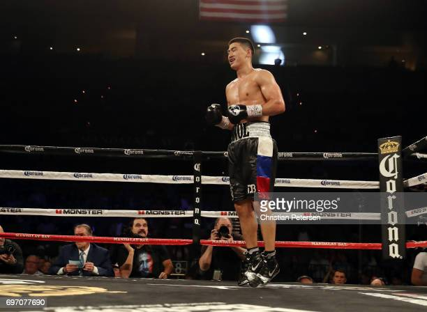 Dmitry Bivol reacts after defeating Cedric Agnew with a fourthround TKO during their light heavyweight bout at the Mandalay Bay Events Center on June...