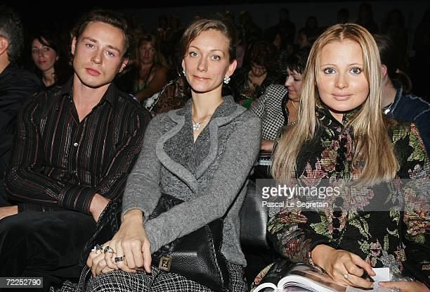 Dmitry Isaev Irina Ginkevitch and Dana Borisova attend the PARFIONOVA Fashion Show as part of Russian Fashion Week Spring/Summer 2007 on October 24...