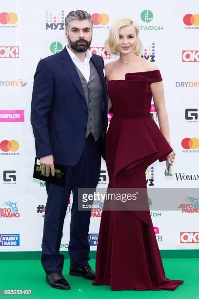 Dmitry Iskhakov and singer Polina Gagarina ahead of the 2017 MuzTV Music Awards ceremony at Olimpiyskiy Stadium on June 9 2017 in Moscow Russia