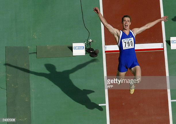 Dmitry Karpov of Kazakhstan leaps during the long jump in the men's decathlon during the 9th World Athletics Championships at the Stade de France in...