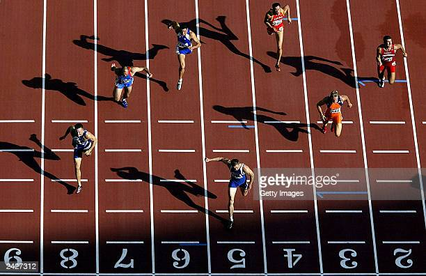 Dmitry Karpov of Kazakhstan wins the third heat of the 100 metres in the men's decathlon during the 9th World Athletics Championships at the Stade de...
