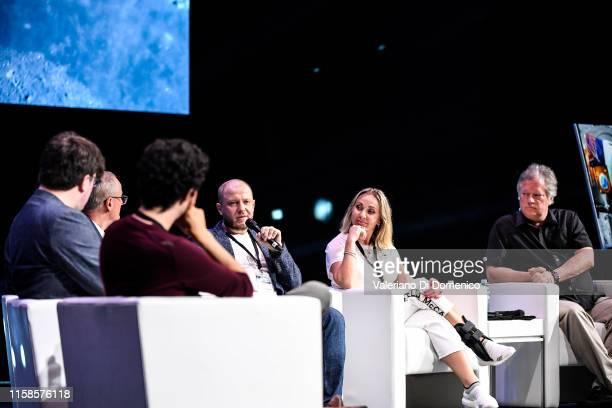 Dmitry Kiselyov Oksana Leonova and Rick Armstrong attend Starmus V A Giant Leap sponsored by Kaspersky at Samsung Hall on June 26 2019 in Zurich...