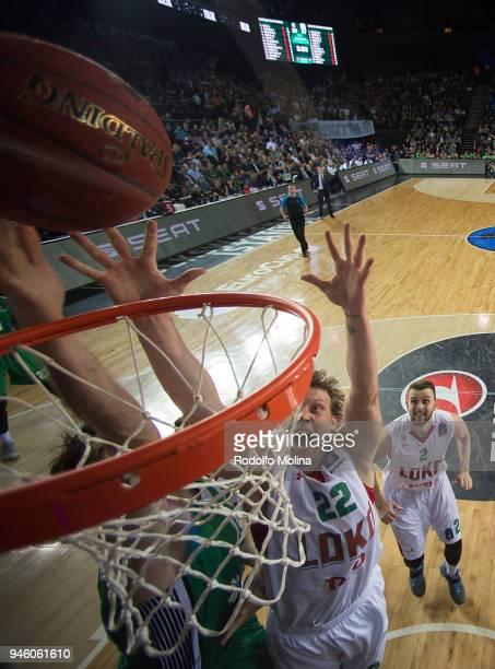 Dmitry Kulagin #22 of Lokomotiv Kuban Krasnodar in action during the 7DAYS EuroCup Basketball Finals game two between Darussafaka Istanbul v...