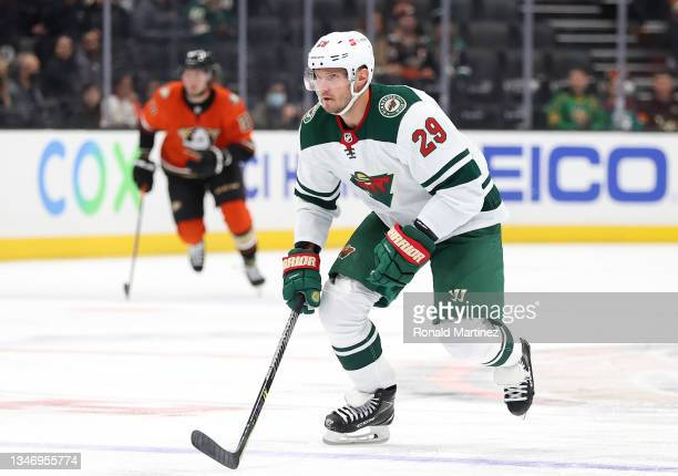 Dmitry Kulikov of the Minnesota Wild at Honda Center on October 15, 2021 in Anaheim, California.