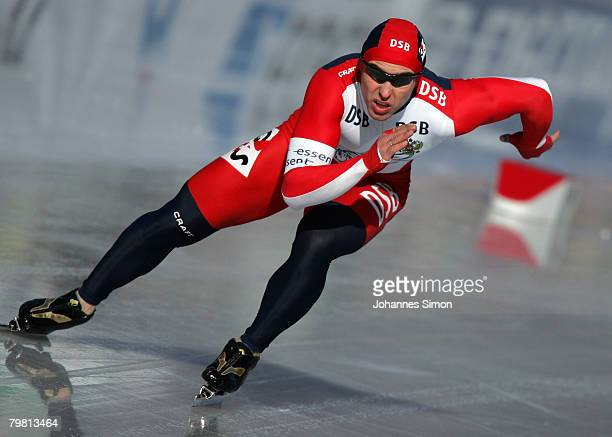 Dmitry Lobkov of Russia competes in the 500m heats during Day 2 of the Essent ISU Speed Skating World Cup at the Ludwig Schwabl Eisstadion on...
