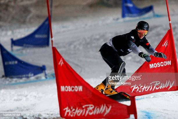 Dmitry Loginov of Russia action during the men's Parallel Slalom race of the FIS Snowboard World Cup in Moscow Russia on January 26 2019