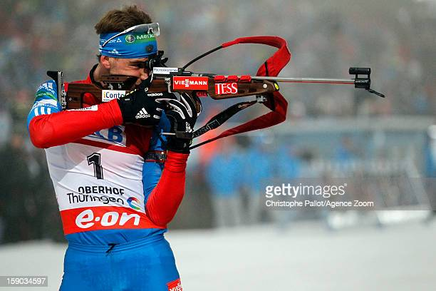 Dmitry Malyshko of Russia competes during the IBU Biathlon World Cup Men's Pursuit on January 06, 2013 in Oberhof, Germany.