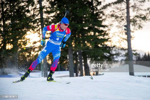 Dmitry Malyshko of Russia competes during the Mens 10 km Sprint Competition at the BMW IBU World Cup Biathlon Oestersund at Swedish National Biathlon...