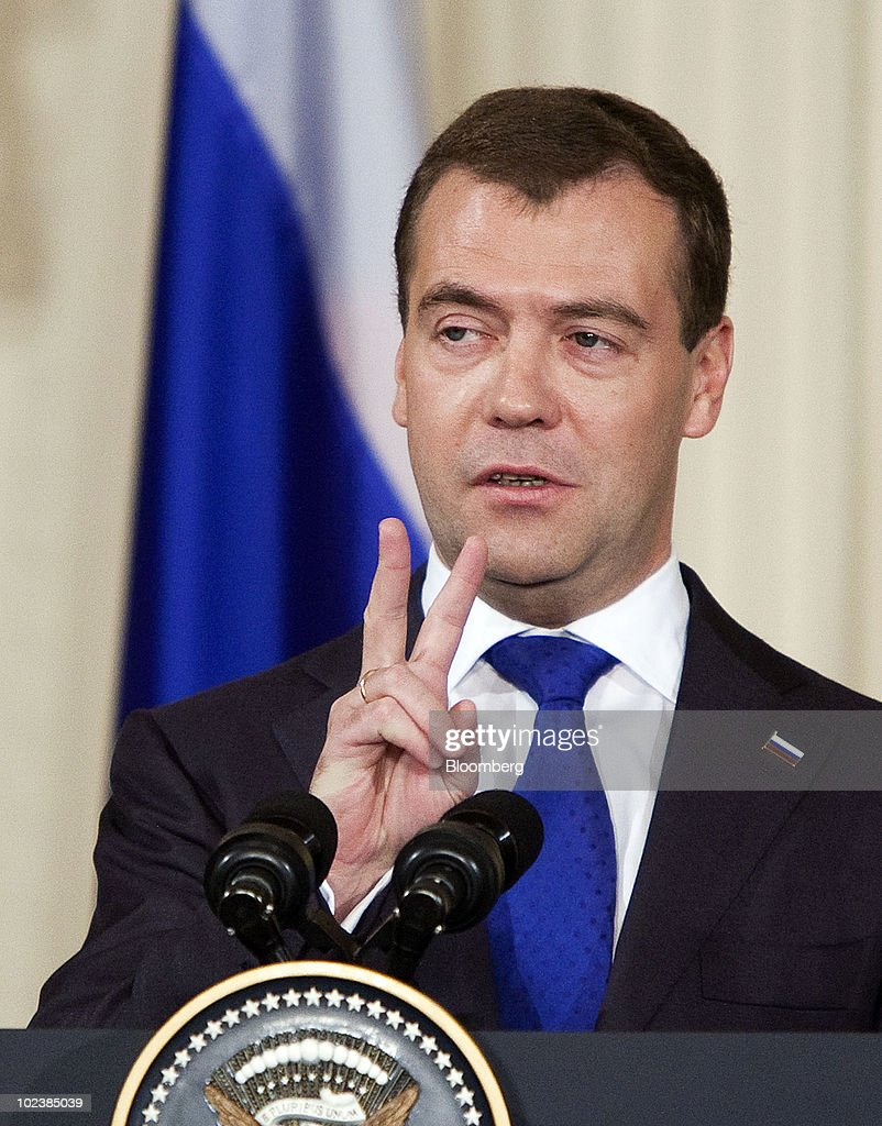 Dmitry Medvedev, Russia's president, speaks during a joint news conference with U.S. President Barack Obama at the White House in Washington, D.C., U.S., on Thursday, June 24, 2010. Obama said the U.S. and Russia are committed to expanding commercial ties, and Medvedev said he wants to remove all obstacles to trade and investment in his country. Photographer: Joshua Roberts/Bloomberg via Getty Images